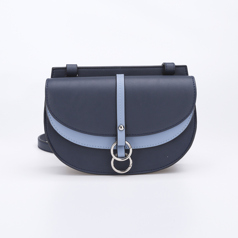 Half moon contrast color PU leather handbag