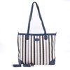 PU Trim Multiple Colors Striped Canvas Big Tote Handbag